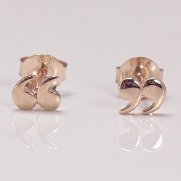 Earrings Quotation Speech Marks Rose Gold Book Lover Gifts