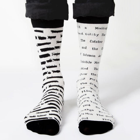 Socks - Banned Books - Black & White-Socks-Book Lover Gifts