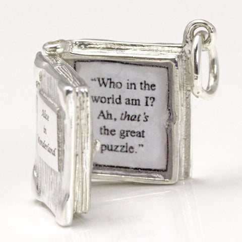 Book Charm Locket / Pendant - Silver - Alice in Wonderland