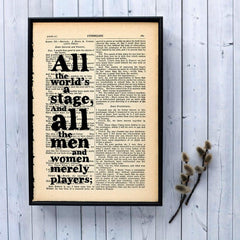 Book Print - All the World's a Stage - Shakespeare-Print / Poster-Book Lover Gifts