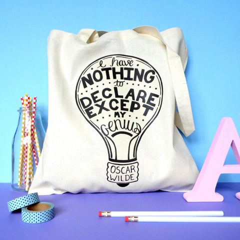 Tote Bag - Nothing to Declare Except my Genius - Oscar Wilde