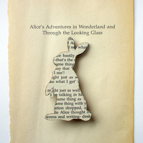 Book Brooch - Handmade - Rabbit - Alice in Wonderland