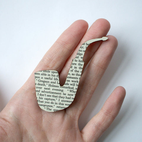 Book Brooch - Handmade - Pipe - Sherlock Holmes-Jewellery-Book Lover Gifts