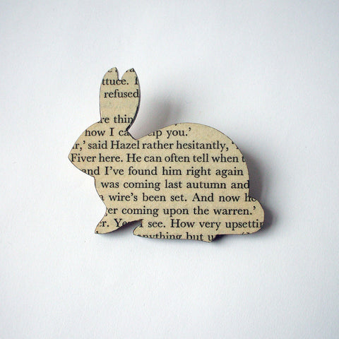Book Brooch - Handmade - Rabbit - Watership Down