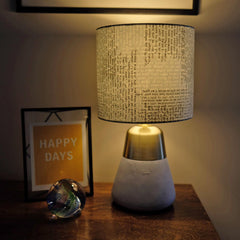 Lampshade - Poetry / Book Fabric - Hand-Rolled