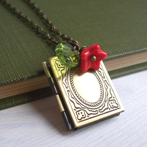 Necklace - Librarian / Book Locket - Brass-Jewellery-Book Lover Gifts
