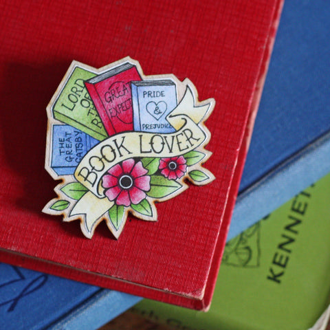 Brooch / Pin / Badge - Book Lover Tattoo - Wooden
