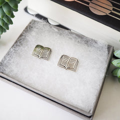 Stud Earrings - Open Books