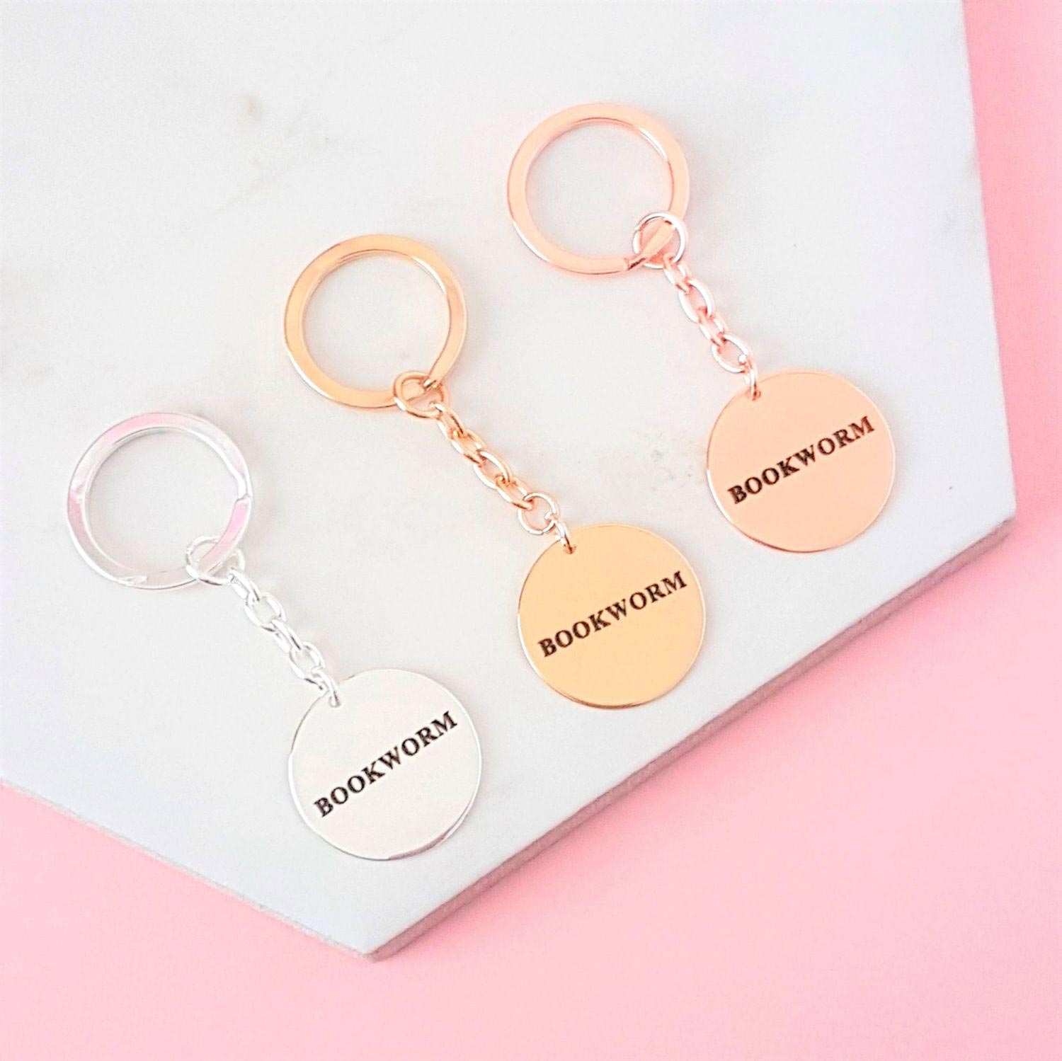 Keyring - Metal - Bookworm - Silver, Gold, Rose Gold