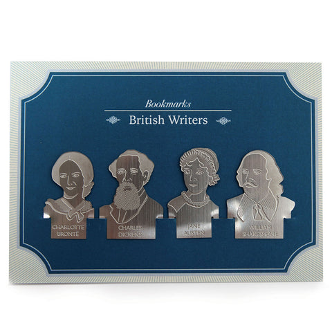 Bookmark Set - Stainless Steel - British Writers - Austen, Dickens, Shakespeare, Bronte