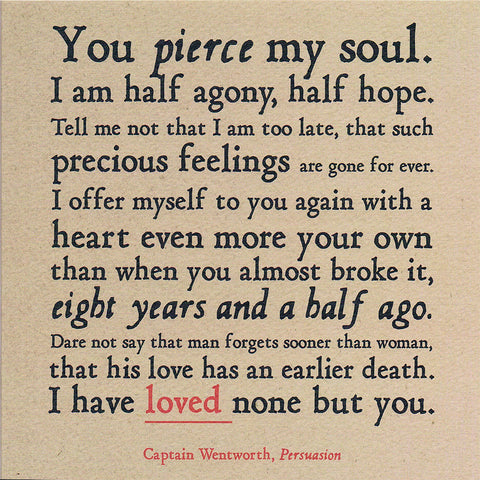 Card - You Pierce My Soul - Persuasion - Jane Austen