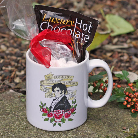 Gift Set - Mug & Hot Chocolate - Mr Darcy Illustration