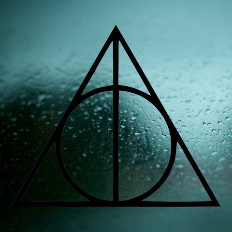 Car Vinyl Sticker - Sign of The Deathly Hallows Decal - Harry Potter
