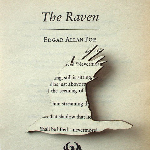 Book Brooch - Handmade - The Raven - Edgar Allan Poe