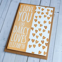 Bookmark Card - I Love You like Darcy Loves Elizabeth