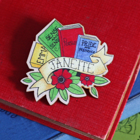 Brooch / Pin / Badge - Janeite - Jane Austen - Wooden
