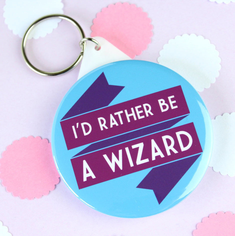 Key Ring - I'd Rather be a Wizard - Harry Potter / Gandalf-Jewellery-Book Lover Gifts