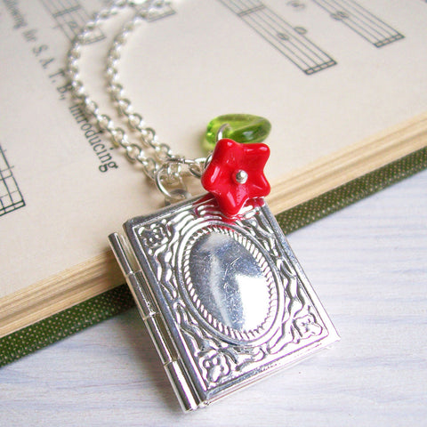 Necklace - Librarian / Book Locket - Silver