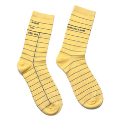 Socks - Library Cards - Yellow-Socks-Book Lover Gifts