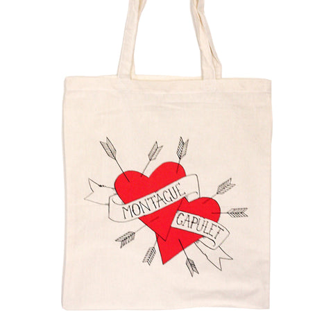 Tote Bag - Shakespeare - Montague & Capulet - Hearts-Bag-Book Lover Gifts