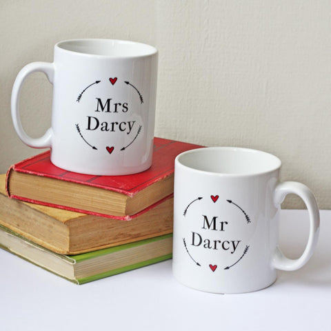 Mug Set - Mr & Mrs Darcy - Jane Austen Wedding Gift - NEW