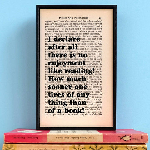 Book Print - No Enjoyment Like Reading - Pride & Prejudice - Austen-Print / Poster-Book Lover Gifts