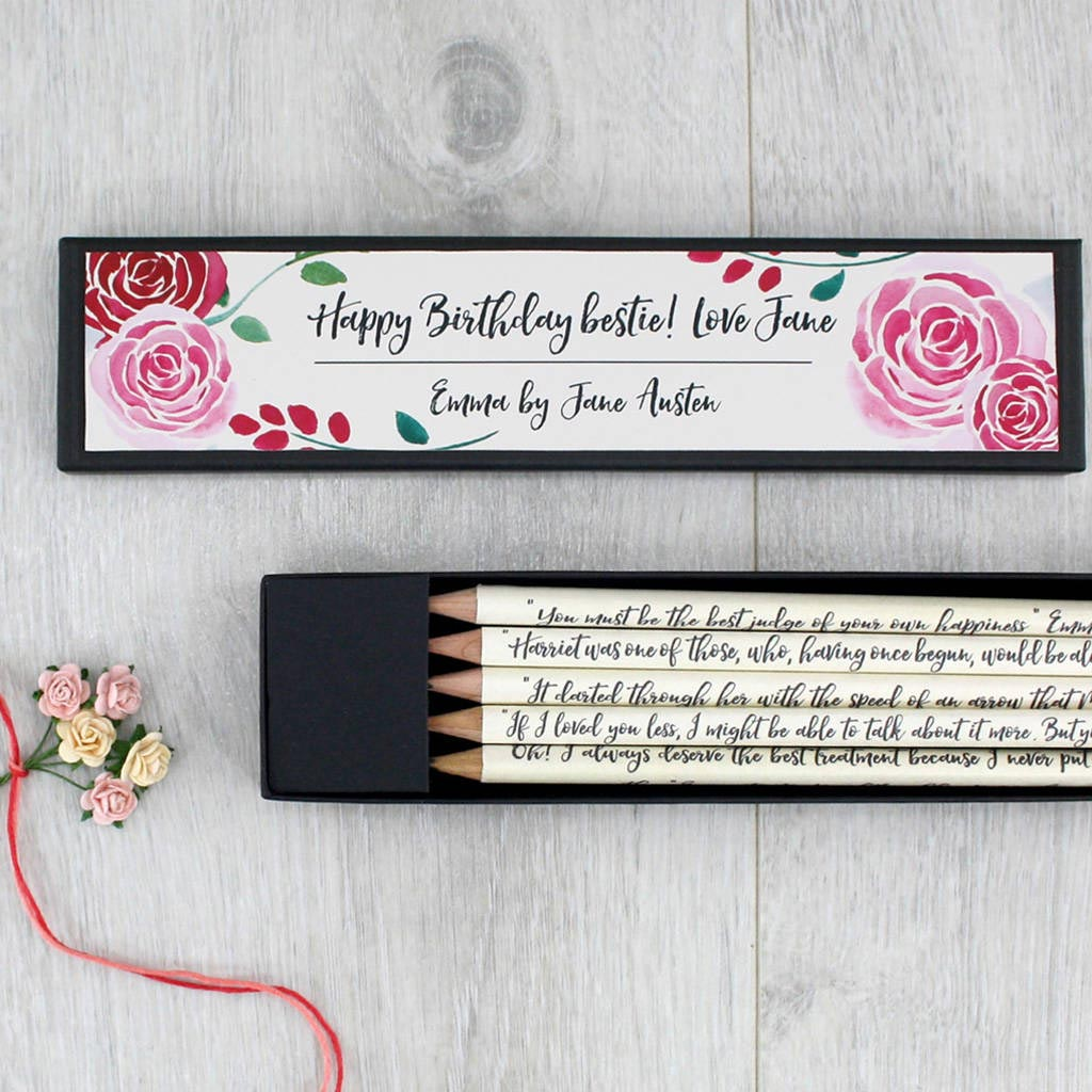 Pencils Set - Emma Quotations - Personalised-Stationery-Book Lover Gifts