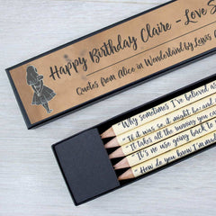 Pencils Set - Alice In Wonderland Quotations - Personalised