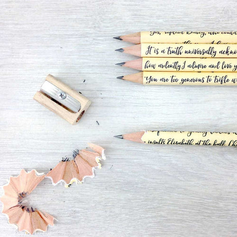 Pencils Set - Pride and Prejudice Quotations - Personalised-Stationery-Book Lover Gifts