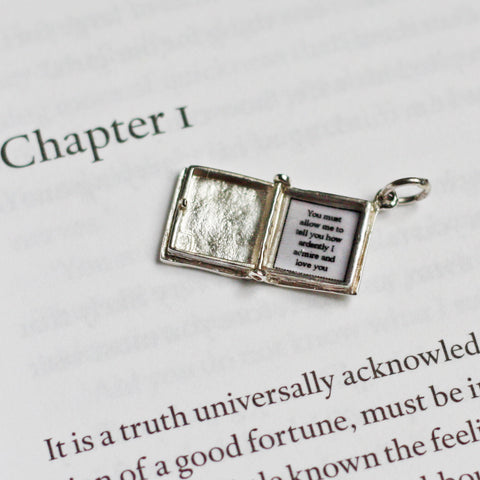 Book Charm Locket / Pendant - Silver - Pride and Prejudice