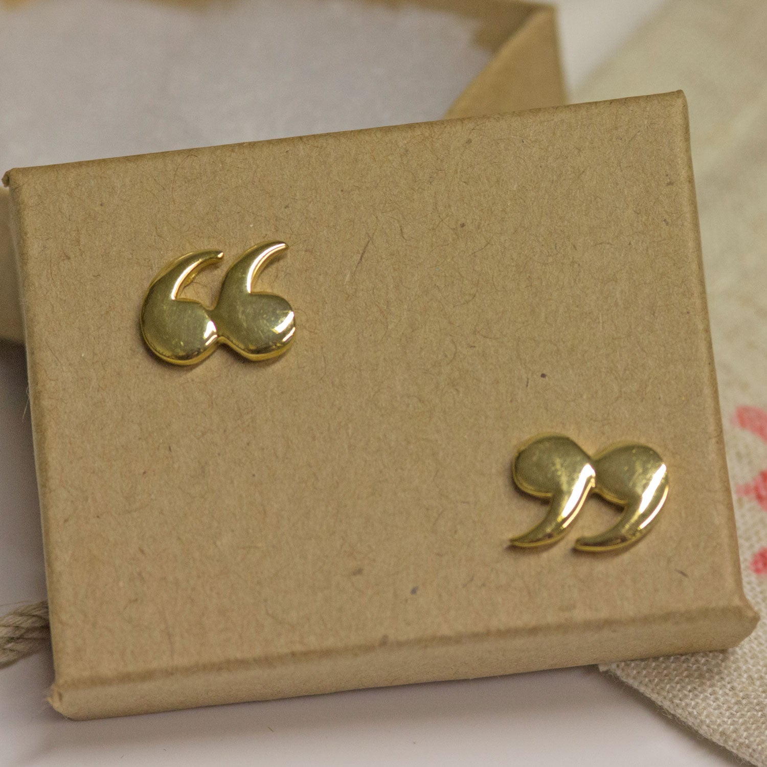 Earrings - Quotation / Speech Marks - Gold - Large
