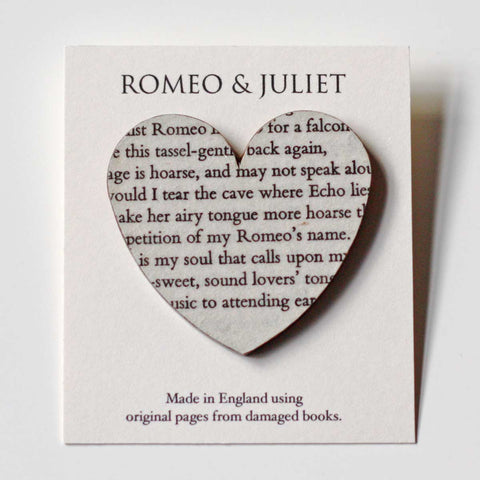 Book Brooch - Heart - Romeo & Juliet - Shakespeare - Large