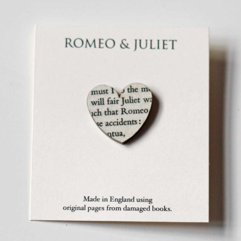 Book Brooch - Heart - Romeo & Juliet - Shakespeare - Small