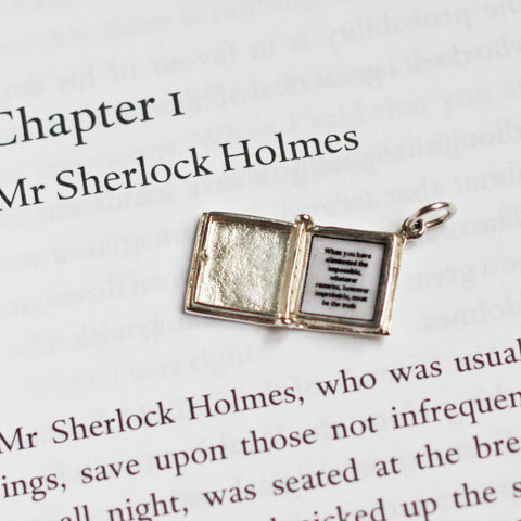 Book Charm Locket / Pendant - Silver - Sherlock Holmes-Jewellery-Book Lover Gifts