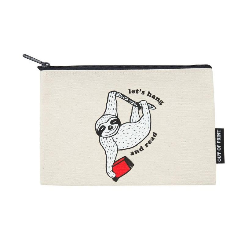 Pouch / Zip Up / Make Up Bag / Pencil Case - Lets Hang and Read