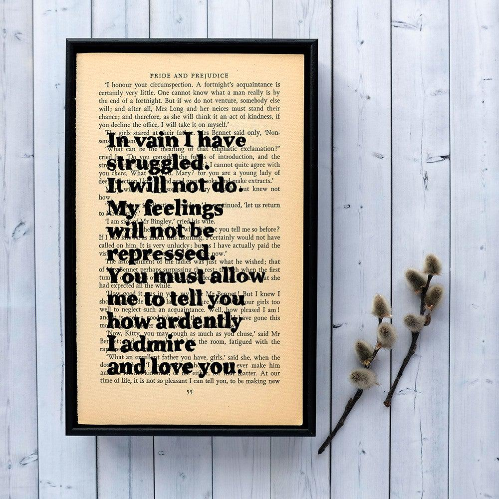 Book Print - In Vain I Have Struggled - Pride & Prejudice - Jane Austen-Print / Poster-Book Lover Gifts