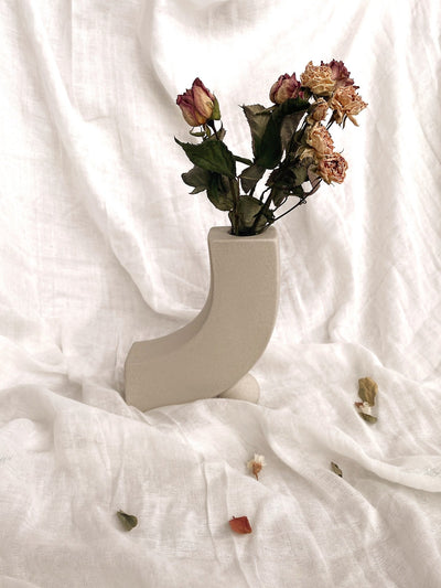 Asymmetric White Ceramic Vase - fleurapeutic