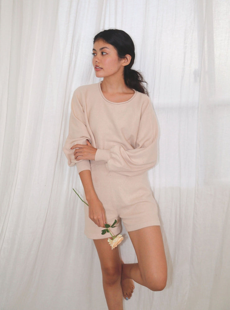 Bell Sleeves Cropped Knit Lounge Set - fleurapeutic