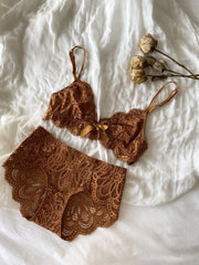 Burnt Orange Sheer Lace Mesh Wireless Bralette Set - fleurapeutic