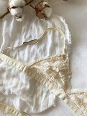 Cream Sheer Lace Wireless Bralette Set - fleurapeutic