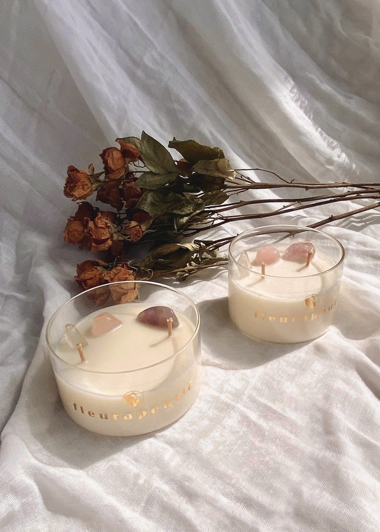 Crystal Infused Scented Soy Wax Candle - fleurapeutic
