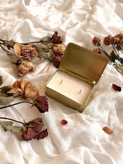 Gold Tin Box Soy Wax Scented Candle - fleurapeutic