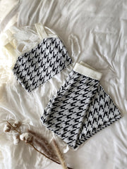 Houndstooth Knit Lounge Set - fleurapeutic