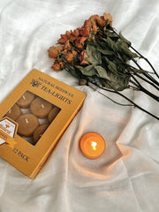 Natural Beeswax Tealight Candles 12 Pack - fleurapeutic