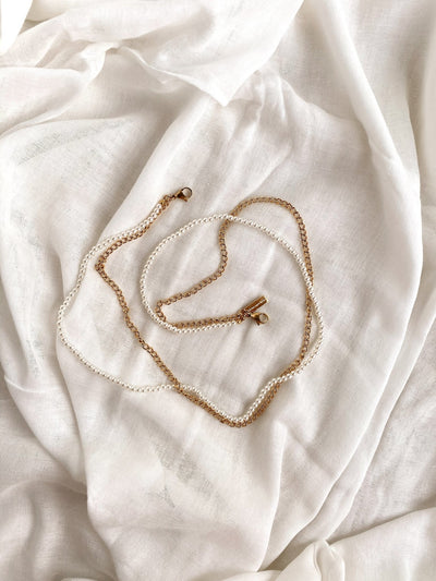 Pearl x Cuban Chain (Mask Chain) -Stainless Steel/Gold-Plated- - fleurapeutic