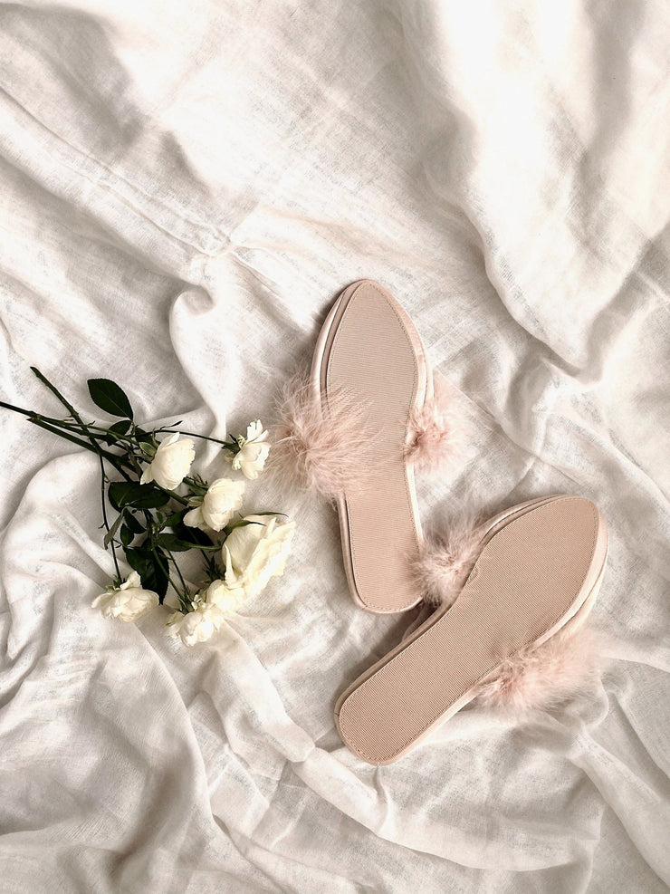 Pink Feather Slippers - fleurapeutic