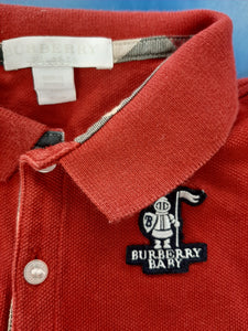 Burberry Baby Red Polo Shirt Boys Size 12M