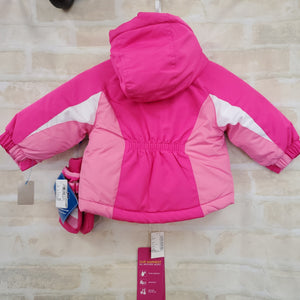 Childrens Place girls coat New pink 3pc light removable jacket mittens water resistant coat 6-9m