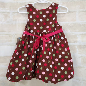 Bonnie Baby girls dress brow cord/polka dots 18m
