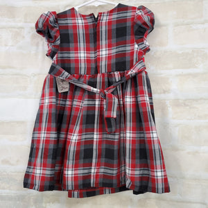 Bonnie Baby girls dress plaid S/S 24m